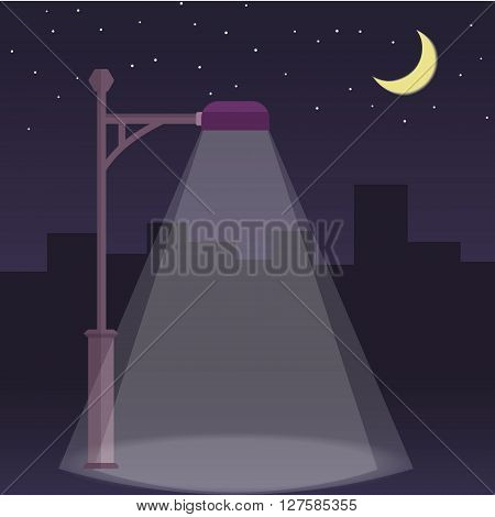 Vector streetlamp on night city background. Streetlight at night flat illustration. Moon and stars.