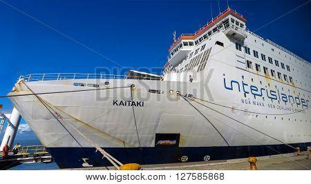 Picton Harbor, New Zealand - March 9, 2015: The Interislander passenger ferry docked in Picton