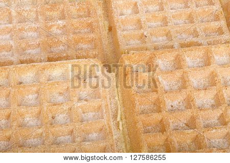 Close up of waffels as a food background focus fusion  focus stacking.