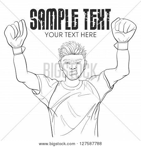 Vector Cartoon Goalkeeper In Outline Style With Field For Text