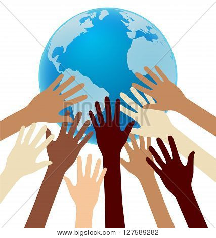 Group of Diversity Hand Reaching For the Earth Globe Unity World Credit map from Nasa