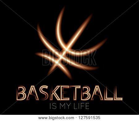 Basketball Luminous Logotype On Black Background