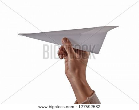 Female hand holding paper airplane on white background.