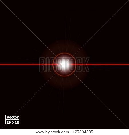 Vector illustration of a red laser beam with a glare. Laser ray on a dark background. Glowing red ball.