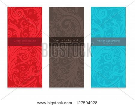 Premium royal vintage victorian set of three templates colorful floral classic backgrounds vector elegant design for restaurant menu, book cover, invitation, backdrops