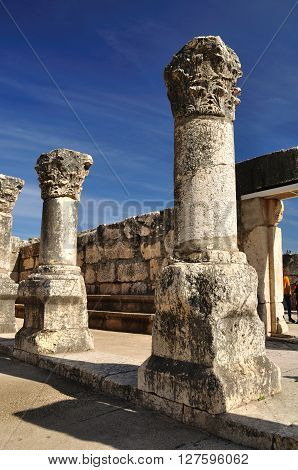 Ruins of ancient synagogue in Capernaum. Israel. ** Note: Visible grain at 100%, best at smaller sizes