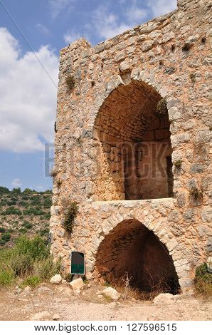 Remainders of ruined crusaders fortress Monfort in northern Israel.