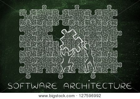 Filling A Gap With Puzzle Piece Of Binary Code, Software Architecture