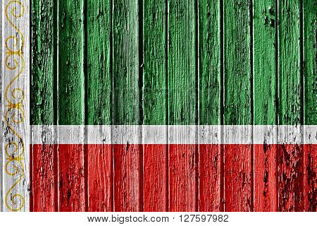 Flag Of Chechnya Painted On Wooden Frame
