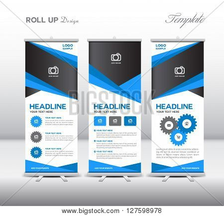 Blue Roll Up Banner template and info graphics stand design banner template vector illustration