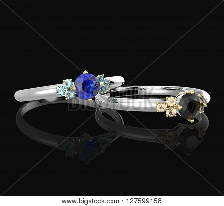 Wedding rings with diamonds on a black background. Fashion jewelry. 3d digitally rendered illustration