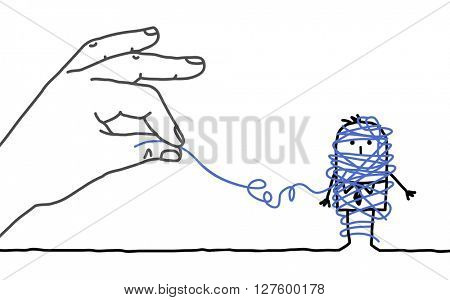 big hand and cartoon businessman - untangling