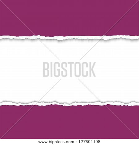 Torn paper with ripped paper edges. Vector colorful torn paper background with white copyspace and ripped torn paper edges. Torn paper frame for text. Hole in paper on white background.