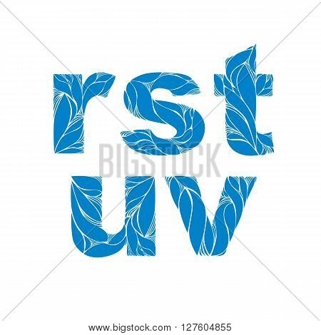 Herbal Style Blue Vector Font, Typeset With Floral Elegant Ornament. R, S, T, U, V, Lowercase Letter