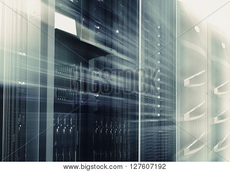 supercomputing cluster management terminal data center motion blur bottom view