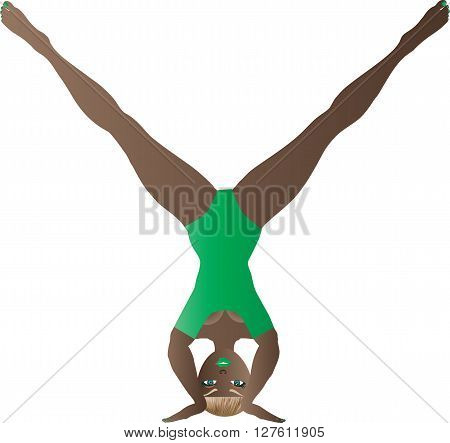A Cartoon Woman in a Green Leotard performing a Yoga Headstand
