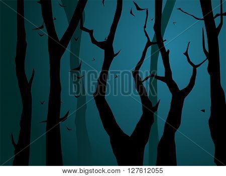 Scene of forest at night. Vector illustration