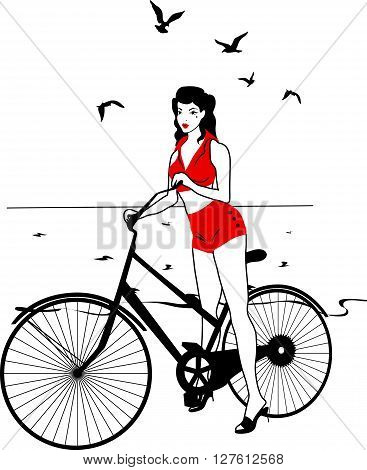 Elegant pinup girl on a bicycle near the sea. Stylish retro beautiful person for fashion design. Stylish illustration.  Elegant vector style.