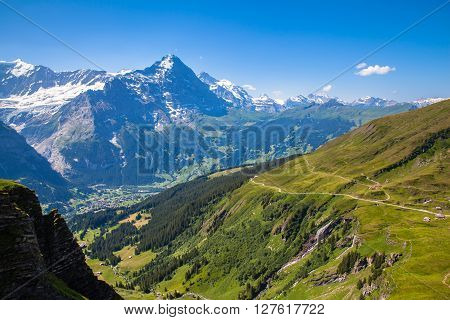 Stunning View Of Eiger North Face And  Bernese Alps