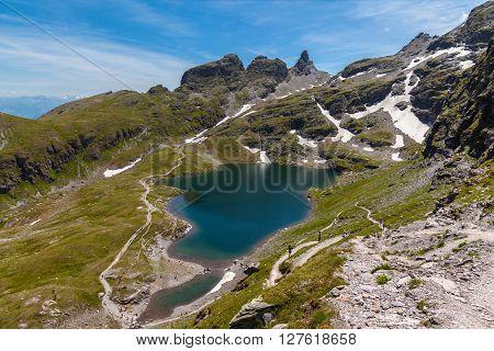 Stunning View Of Schwarzsee (lake) Near Pizol