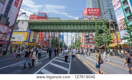 AKIHABARA, TOKYO - MAY, 2015 : Akihabara area. Akihabara is very famous for many electronics shops and the center of Japan's otaku culture, it is a pedestrian street on sundays.