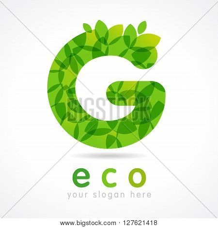 Letter G eco leaves logo icon design template. G eco green logo