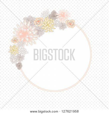 Flower round circle card template vector. Mums, roses and succulents wedding invitation or greeting card design. Cream pink and beige violet flower decor.