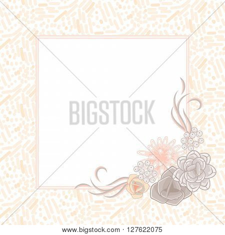 Flower square card template vector. Mums, roses and succulents corner wedding invitation or greeting card design. Cream pink and beige violet flower decor.