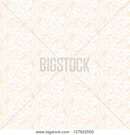 Chaotic pink cream strokes seamless vector pattern. Slender signs background texture for website substrate.