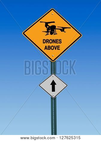 conceptual sign with drone symbol and  warning above over blue sky