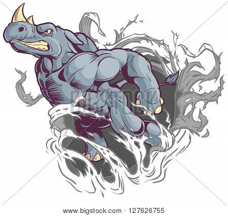 Vector Cartoon Clip Art Illustration of an Anthropomorphic Cartoon Mascot Rhino Ripping Through the Background.
