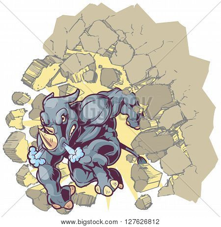 Vector Cartoon Clip Art Illustration of a Crouching Anthropomorphic Mascot Rhino Crashing through a wall.