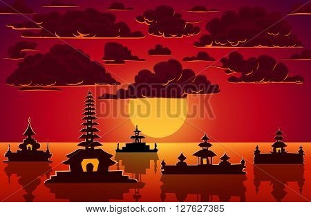 Vector landscape with red sunset fluffy clouds and indonesian sea temples.