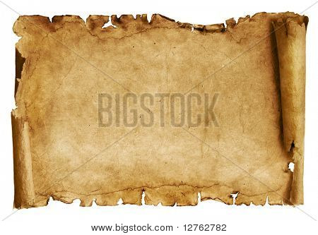 Old paper scroll isolated on white poster