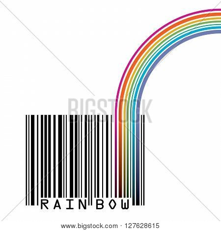 UPC barcode with  a rainbow and space for your type