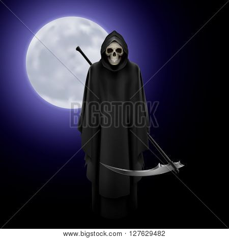 Terrifying Grim Reaper over full moon background