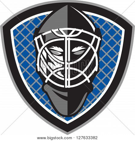 Illustration of a ice hockey goalie helmet set inside shield crest with net on the background done in retro style.