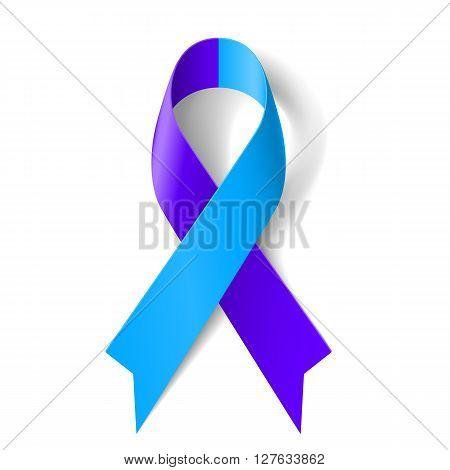 Blue and purple ribbon as symbol of rheumatoid arthritis
