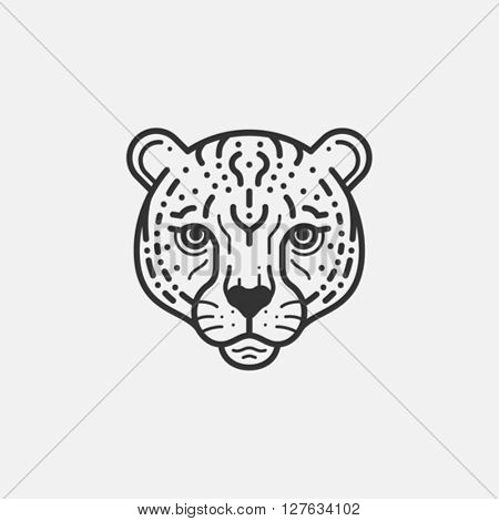 cheetah head line illustration