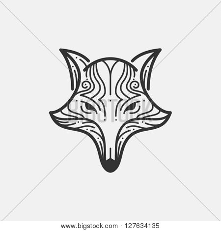 Fox head line illustration