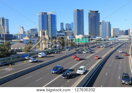 MELBOURNE AUSTRALIA - APRIL 24, 2016: M1 freeway traffic in Melbourne downtown.