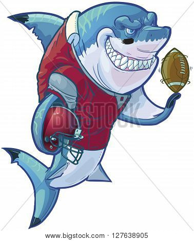 Vector cartoon clip art illustration of a tough mean smiling shark mascot wearing a football uniform and pads while holding a helmet and football. Customizable accessories are on a separate layer in the vector file.