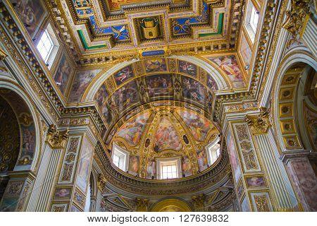 ROME, ITALY - APRIL 8, 2016:  Church S. Marcello al Corso. Interior