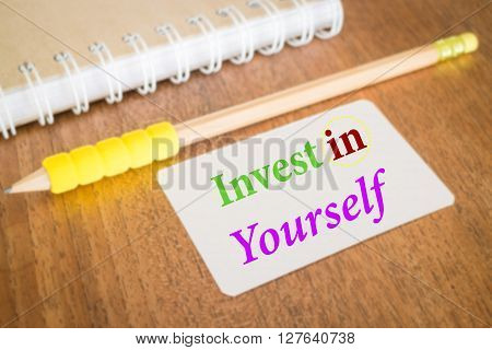 Invest in yourself. Inspire quote about education stock photo