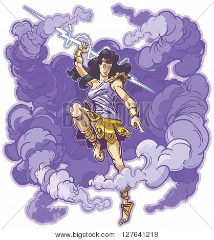Vector clip art cartoon illustration of an angry female greek or roman thunder goddess or titan mascot raising aloft a mighty thunderbolt to smite the unworthy. Cloud is on a separate layer.