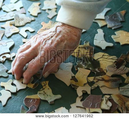 Elderly woman's arthritic and crooked fingers building puzzle