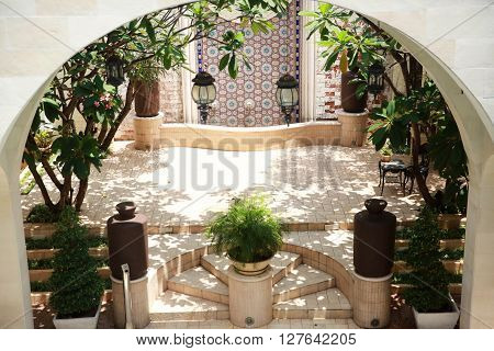 Moroccan style courtyards - high angle view