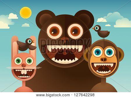 Comic animals. Vector illustration.