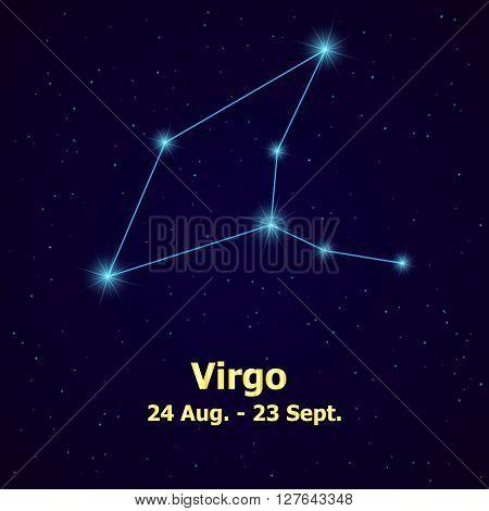 Symbol: Virgo Sign. Vector Illustration. constellation virgo