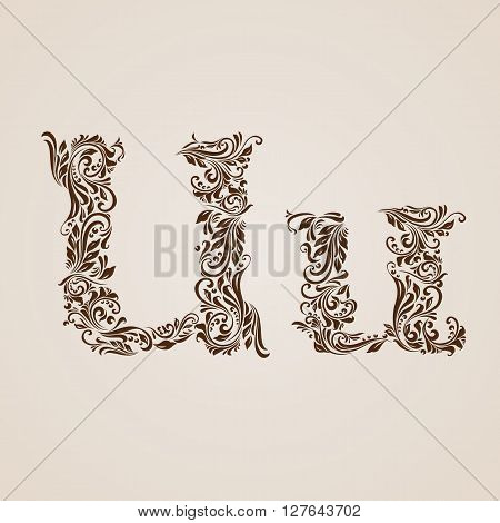 Handsomely decorated letter u in upper and lower case.